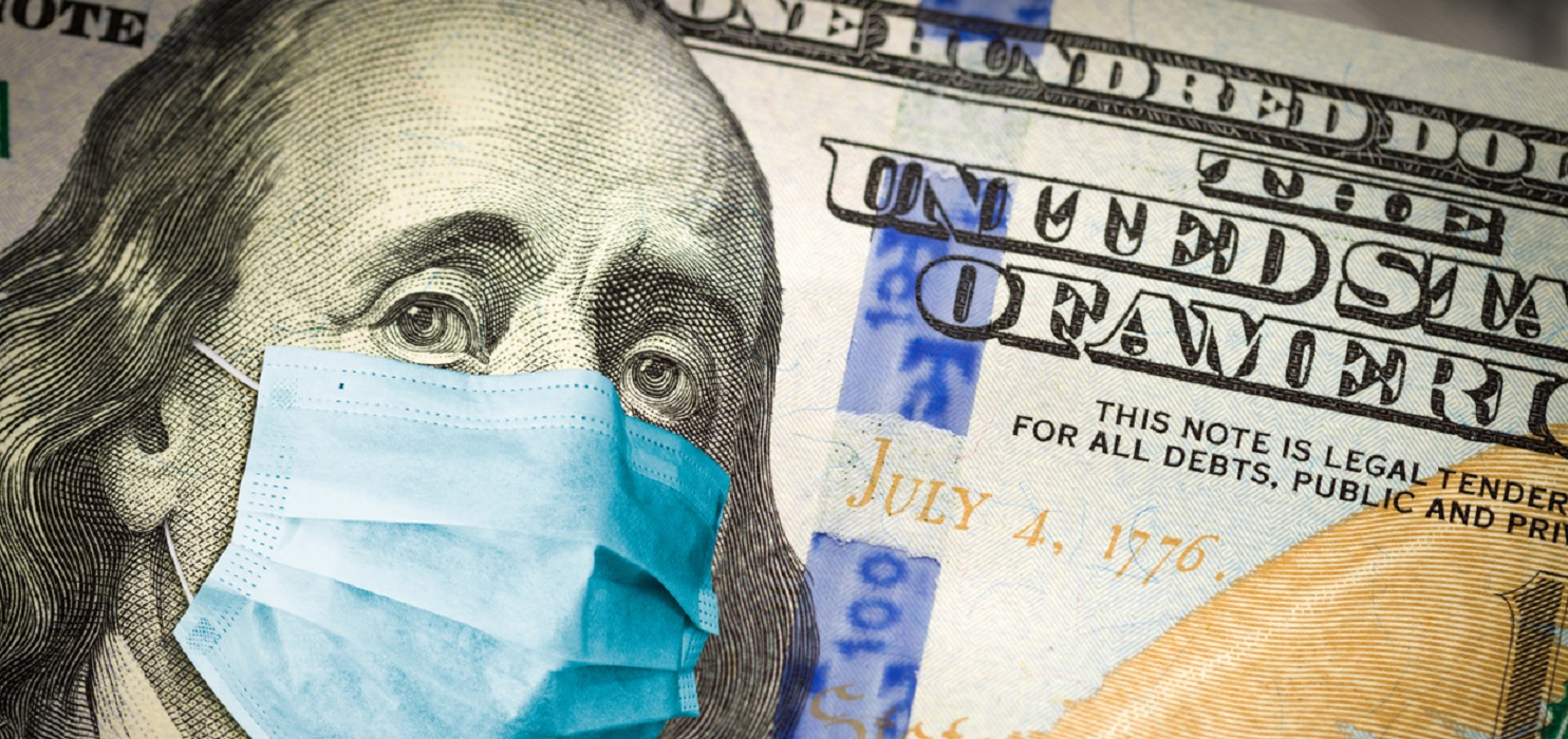 Benjamin Franklin With Worried and Concerned Expression Wearing Medical Face Mask On One Hundred Dollar Bill.